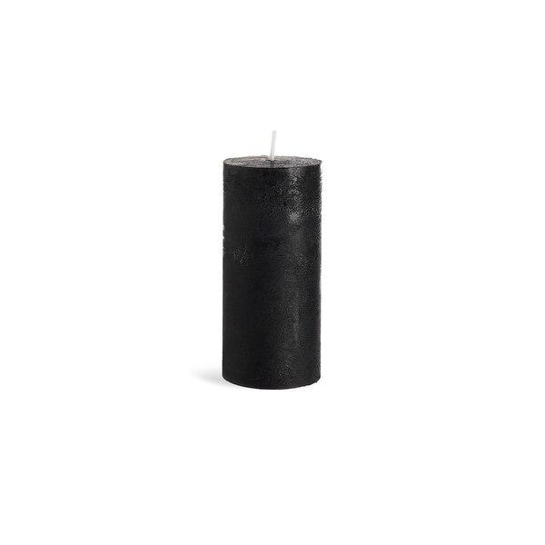 Stumpenkerze Rustic, schwarz