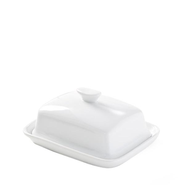 Butterdose mit Deckel, weiß