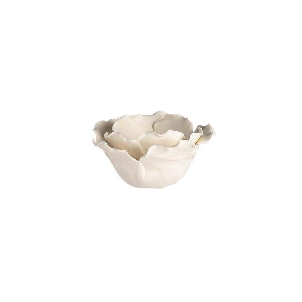 Teelichthalter Blüte, weiß