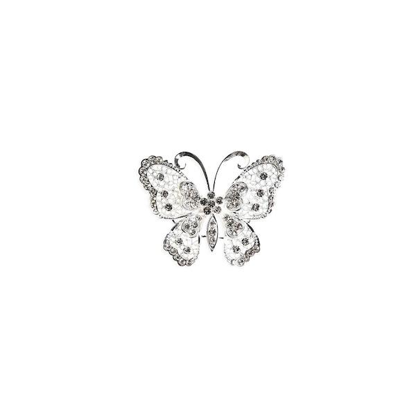 Schmetterling auf Pin, silber