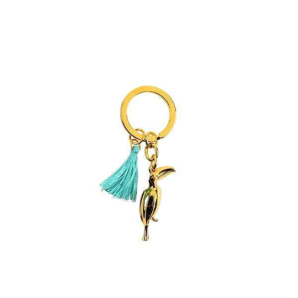 Schlüsselanhänger Tucan, gold