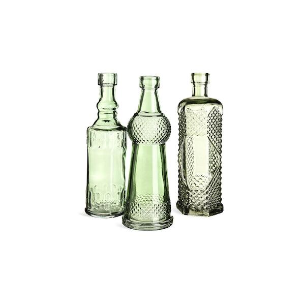 Flaschenvase aus Glas, graugrün