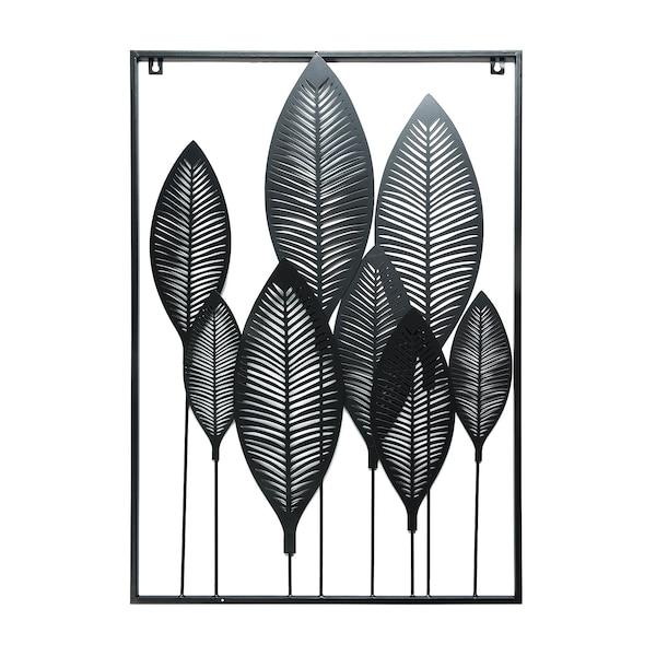 Deko-Wandobjekt Blätter , schwarz