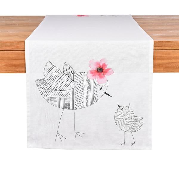Tischläufer Birdy, weiß