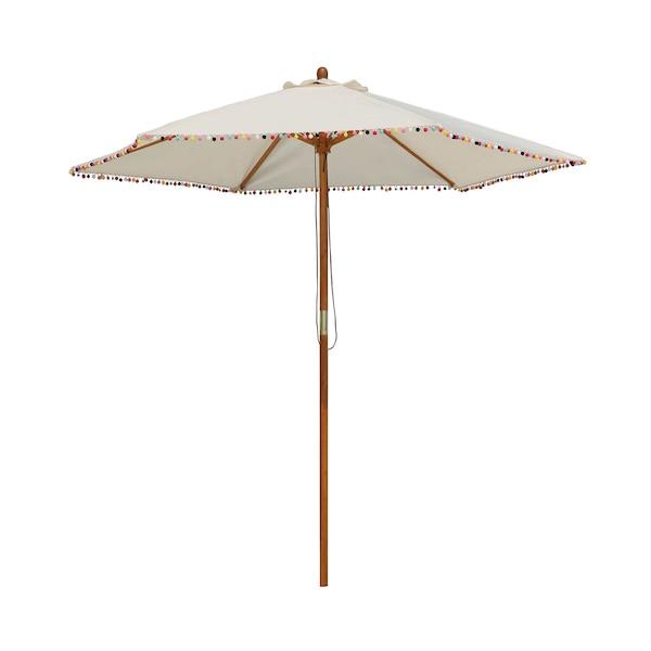 Sonnenschirm mit Pompons, natur