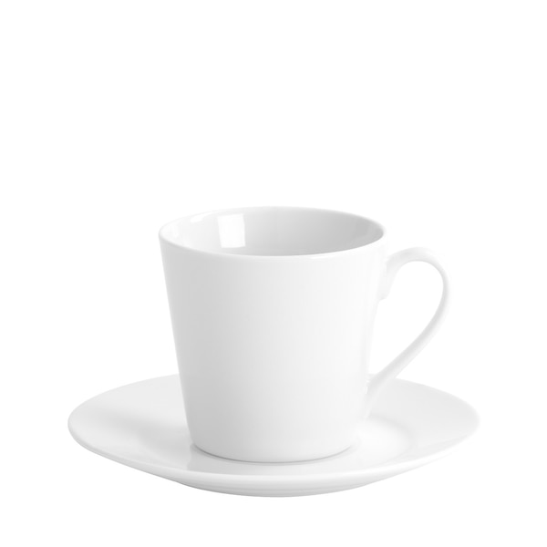 Kaffeetasse mit Untertasse La vie, weiß