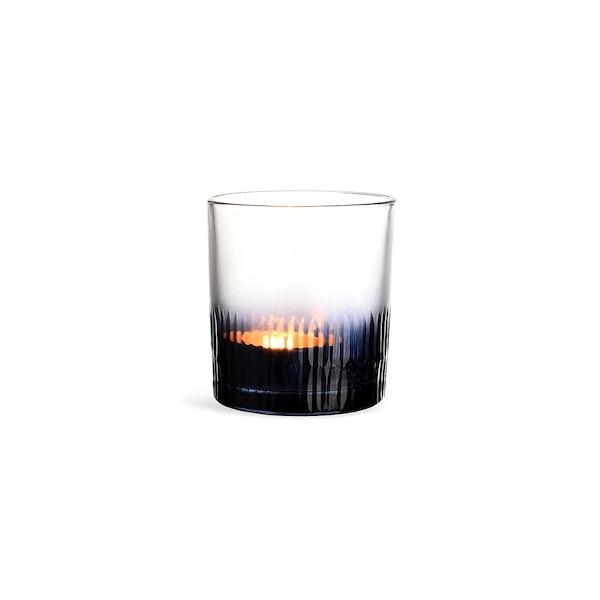 Teelichtglas Farbschliff, dunkelblau