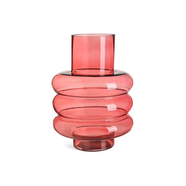 Vase Kreise aus Glas, koralle