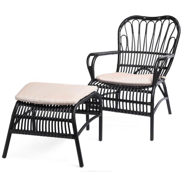 Outdoor-Sessel mit Hocker Relax, schwarz