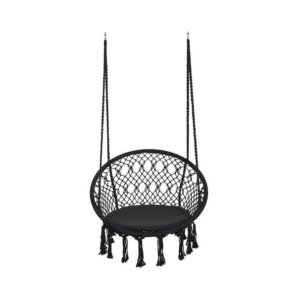 In-& Outdoor-Hängesitz mit Sitzkissen, schwarz