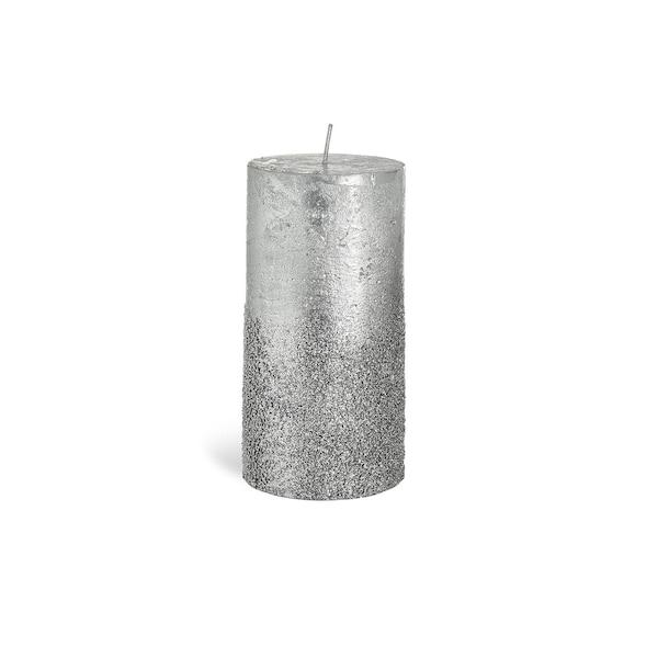 Stumpenkerze Metallic Granulat , silber