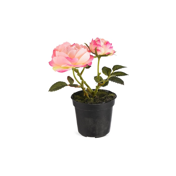 Kunstpflanze Rose im Topf, rosa