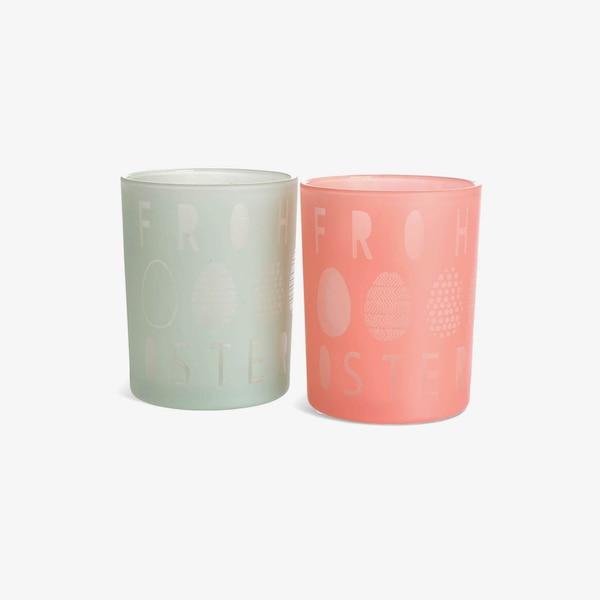 Windlicht Ostern aus Glas, sortiert, pastell