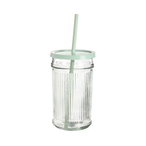 Trinkglas Rib mit Deckel und Trinkhalm, hellgrün