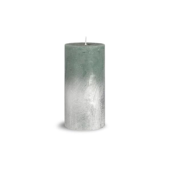 Stumpenkerze Rustic Silver, mintgrün