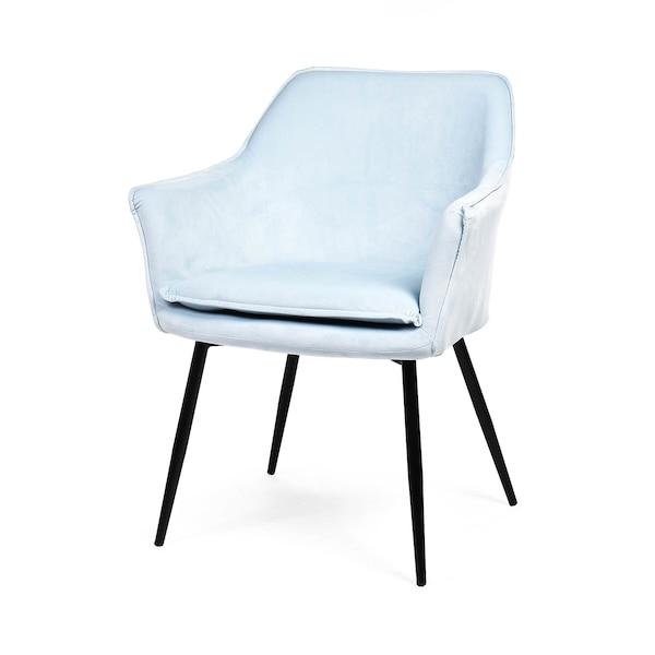 Samt-Stuhl mit Armlehne, hellblau