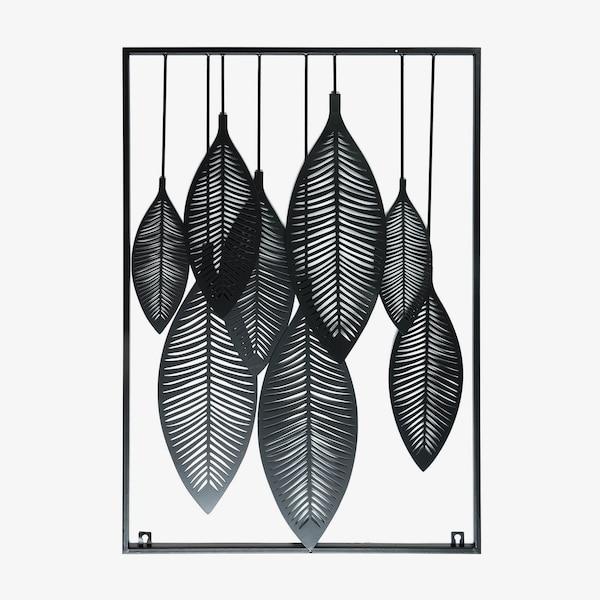 Wandobjekt Blätter , schwarz