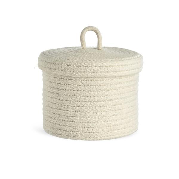 Aufbewahrungskorb Rope mit Deckel, offweiß