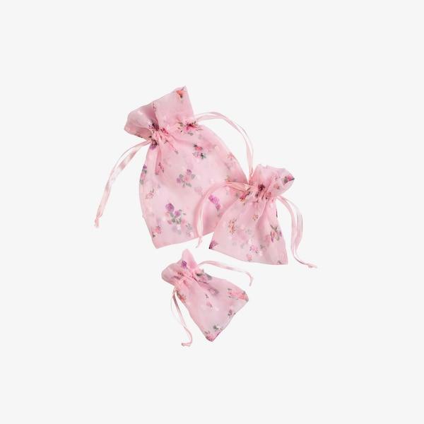 Stoffsäckchen Organzaflower, 3er-Set, rosa