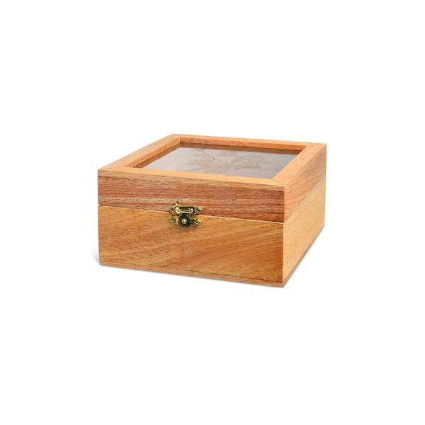 Box mit Glasdeckel, natur