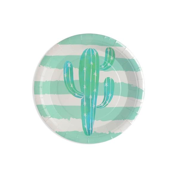Pappteller Kaktus, 8 Stück, grün