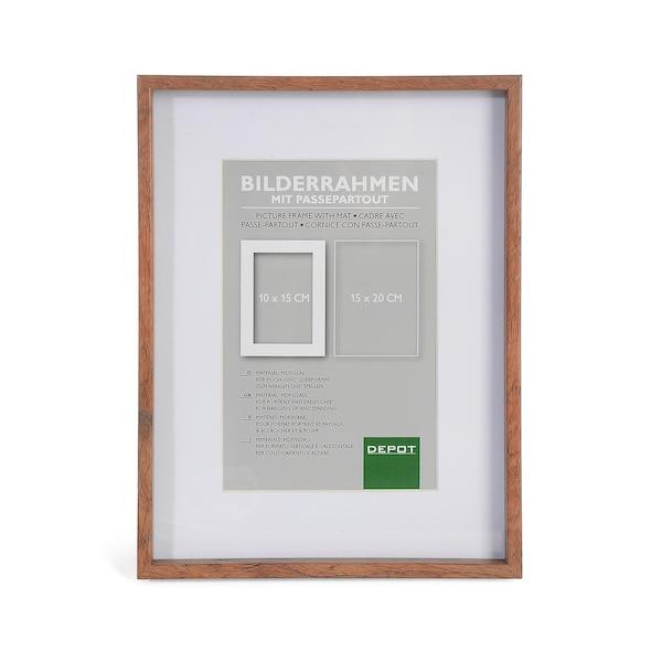 Holz Bilderrahmen mit Passepartout, braun
