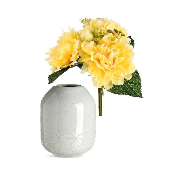 Dekoset Vase mit Blume, 2-teilig, weiß