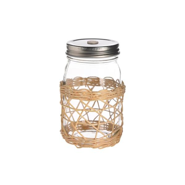 Trinkglas Weaving mit Deckel, natur