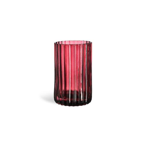 Teelichtglas Stripes, bordeaux