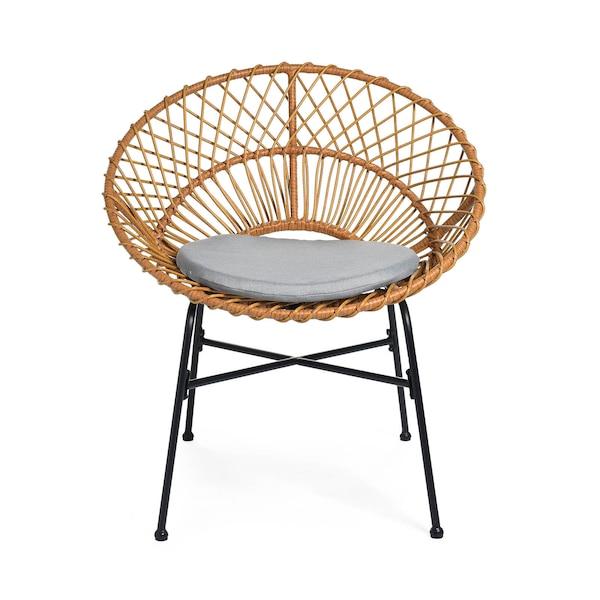 In- & Outdoor-Stuhl DEPOT Luna mit Kissen, handgefertigt, natur