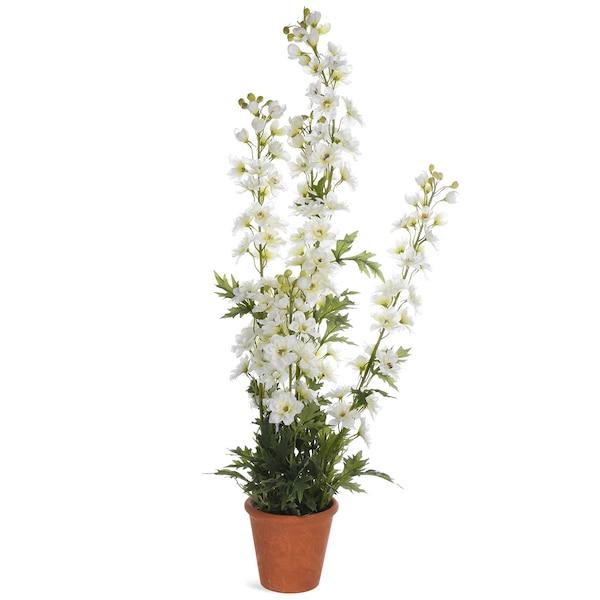 Kunstpflanze Rittersporn im Topf, weiß