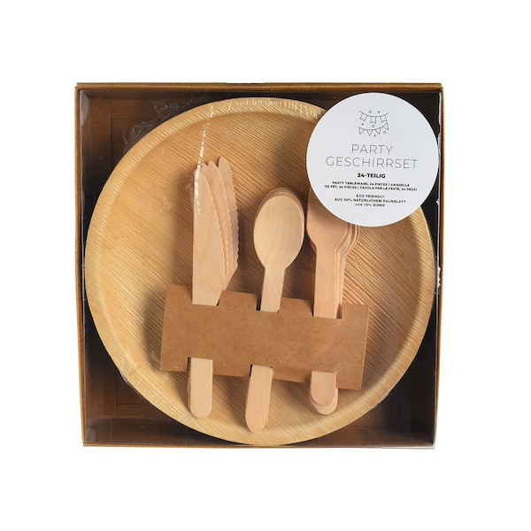 Geschirr-Set, 24-teilig, natur