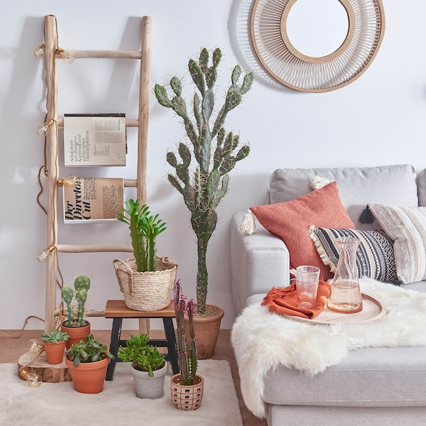 Kunstpflanze Kaktus im Topf, grün