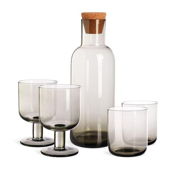 Set Karaffe mit Gläsern, 5-teilig, grau