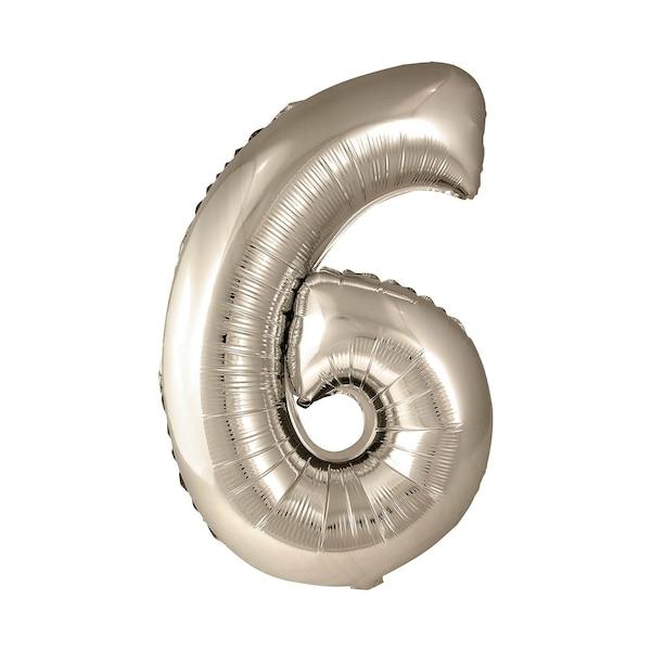 Ballon en film plastique en forme de 6, doré