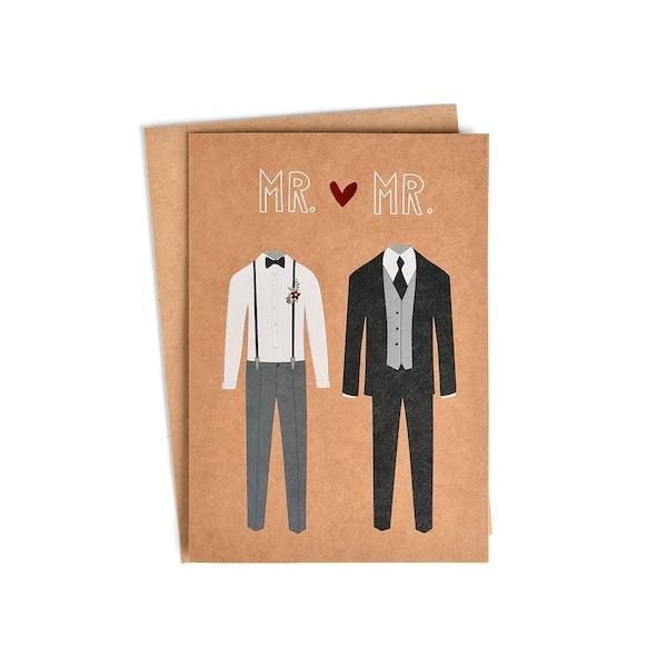 Carte pliante Mr & Mrs, brun