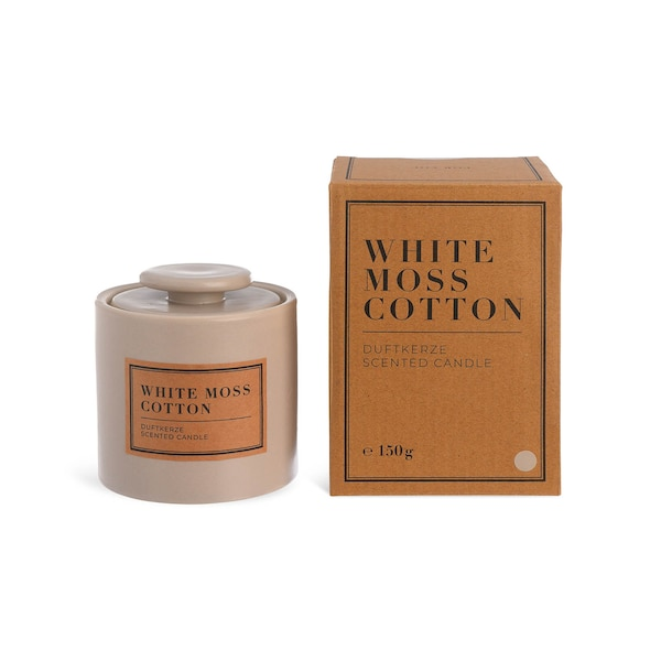 Duftkerze White Moss Cotton, taupe