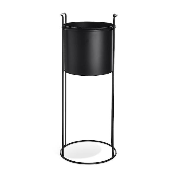 Cache-pot avec support en métal, noir