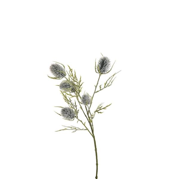 Kunststielblume Distel, graublau