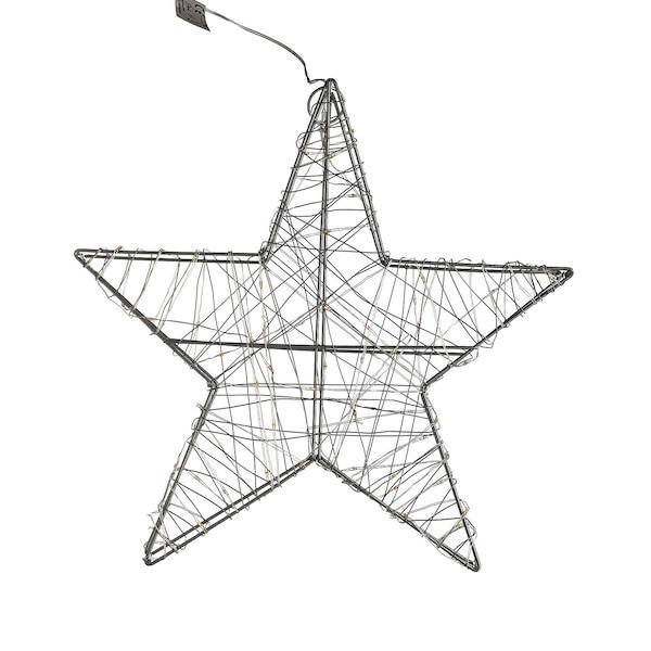 Outdoor Lichtobjekt Stern, Batteriebetrieben, silber