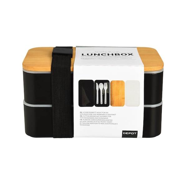 Doppel-Lunchbox inkl. Mehrwegbesteck, schwarz