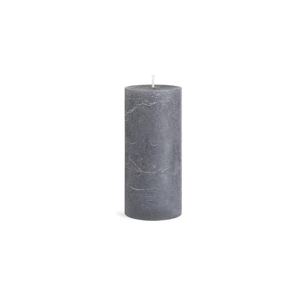 Stumpenkerze Rustic, grau