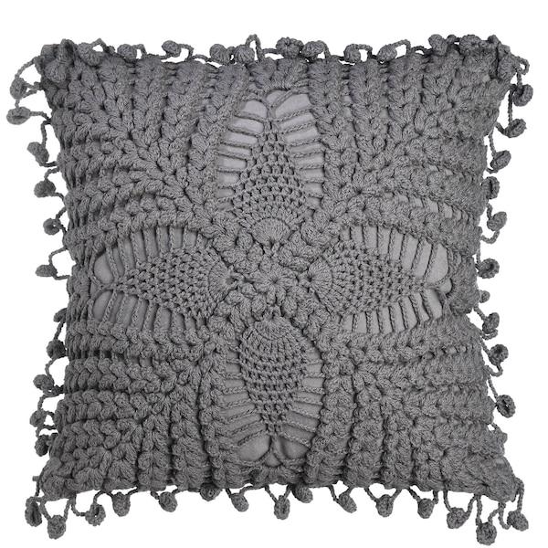Kissenhülle Knitted Flower, dunkelgrau