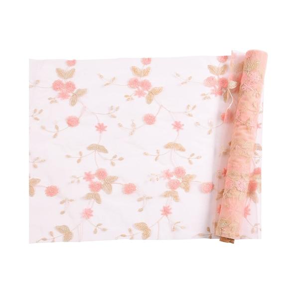 Dekostoff Stickerei Blüte, rosa