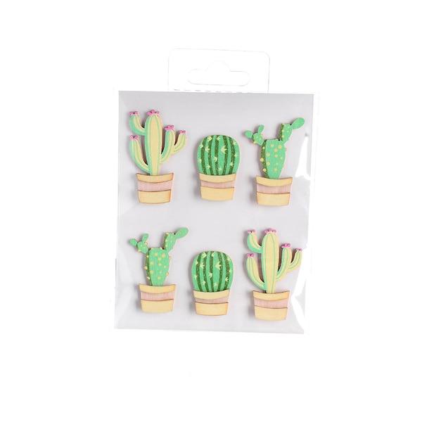 Sticker Kaktus, 6-teilig, grün