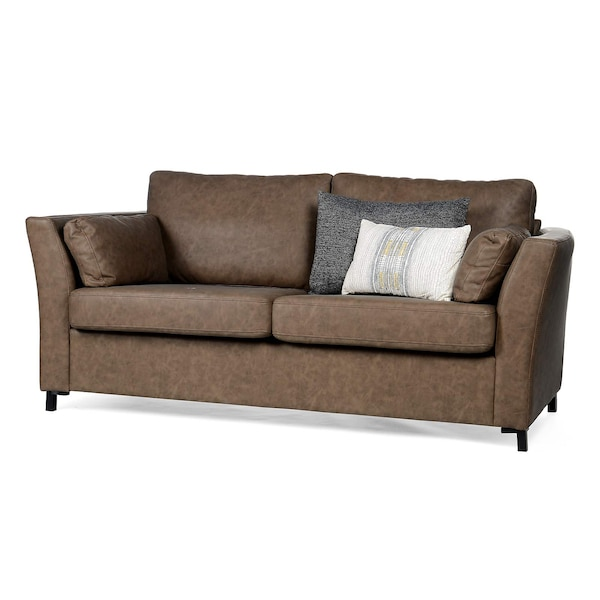 2,5-Sitzer-Sofa Vintage in Lederoptik, braun