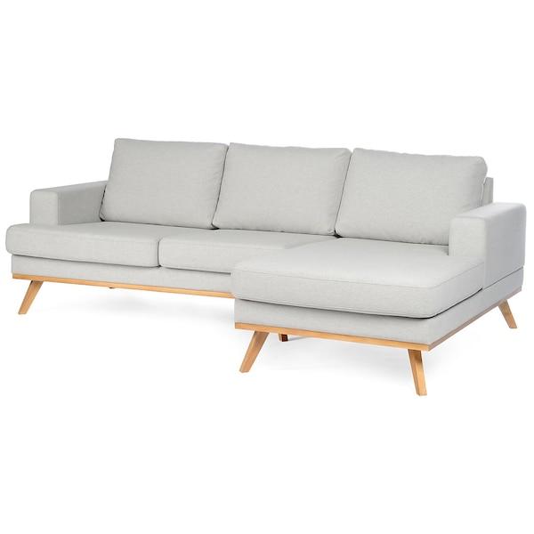 Canapé d'angle avec pieds en bois, angle droite, gris clair
