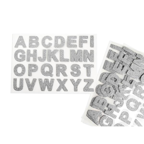 Sticker-Set ABC Glitter, 104er-Set, silber