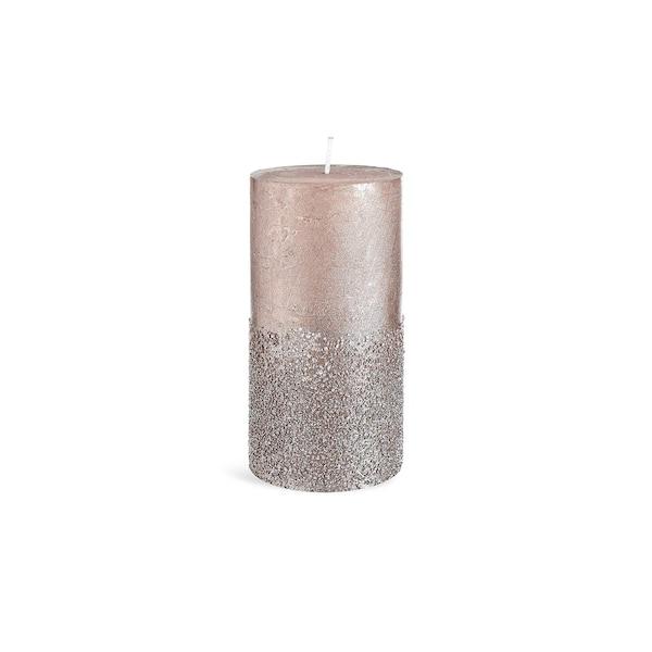 Stumpenkerze Metallic Granulat , altrosa