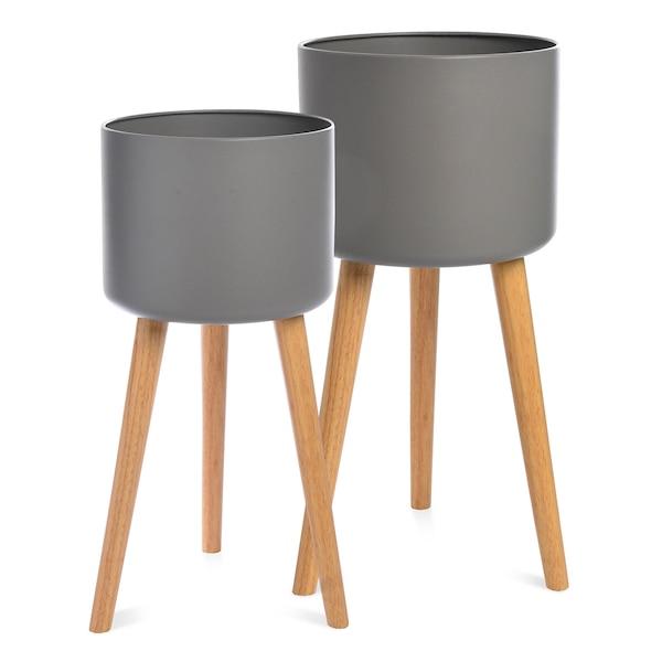 Set Übertopf mit Füßen, 2-teilig, grau